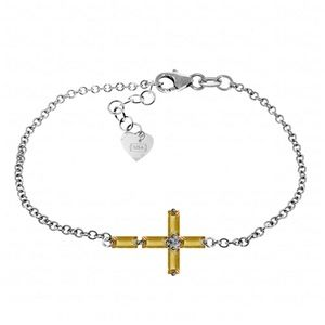 SOLID GOLD CROSS BRACELET WITH NATURAL CITRINES